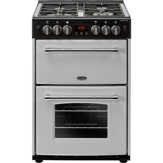 Belling Farmhouse60G 60cm Gas Cooker with Full Width Electric Grill - Silver - A+/A Rated - Farmhouse60G_SI - 1
