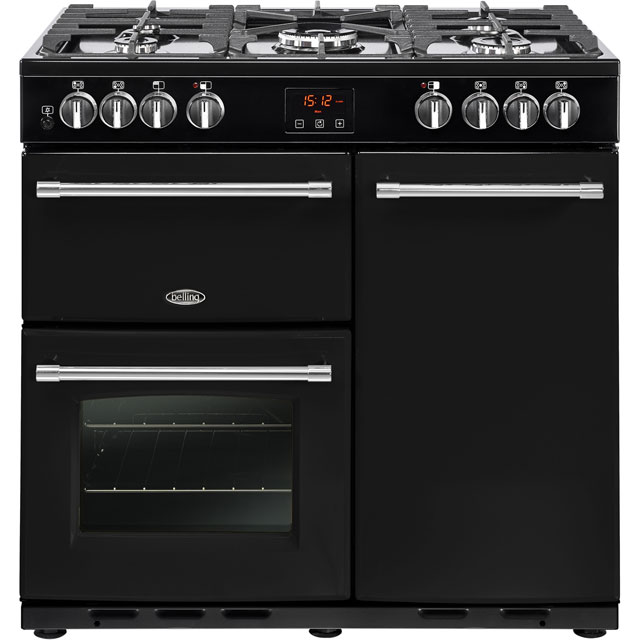 Belling Farmhouse90DFT 90cm Dual Fuel Range Cooker - Black - Farmhouse90DFT_BK - 1