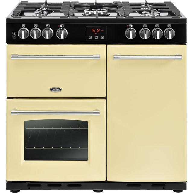 Belling Farmhouse90DFT 90cm Dual Fuel Range Cooker - Cream - A/A Rated - Farmhouse90DFT_CR - 1