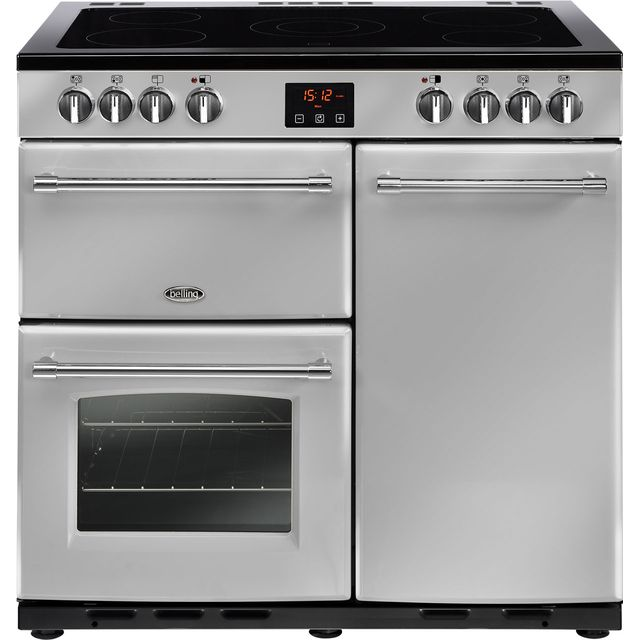 Belling Farmhouse90E 90cm Electric Range Cooker with Ceramic Hob - Silver - A/A Rated - Farmhouse90E_SI - 1