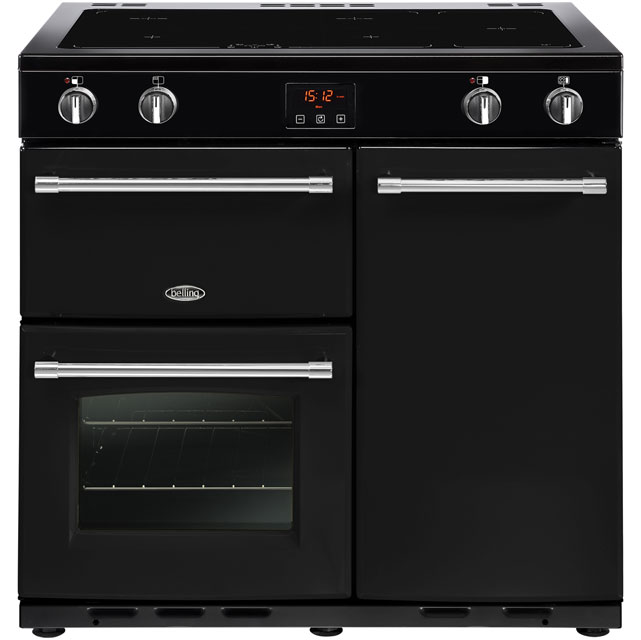 Belling Farmhouse90Ei 90cm Electric Range Cooker with Induction Hob - Black - A/A Rated - Farmhouse90Ei_BK - 1