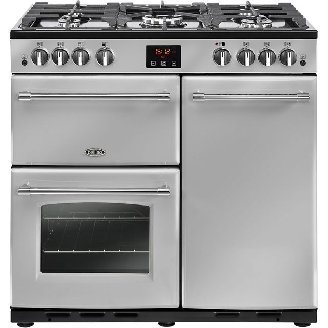 Belling Farmhouse90G 90cm Gas Range Cooker with Electric Fan Oven - Silver - B/A Rated - Farmhouse90G_SI - 1