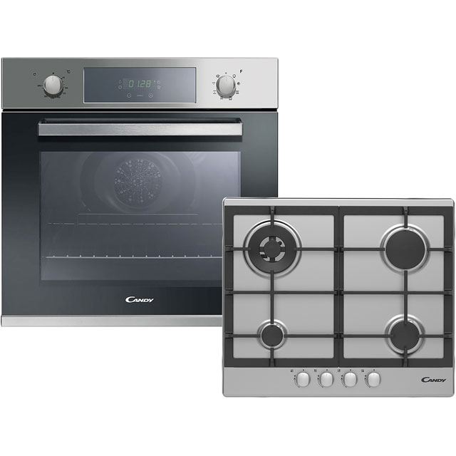 Candy FCP605X/CPG64SWGX Built In Electric Single Oven and Gas Hob Pack - Stainless Steel - A+ Rated