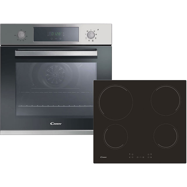 Candy FCP605XL/CH64CCB Built In Electric Single Oven and Ceramic Hob Pack - Stainless Steel / Black - A+ Rated
