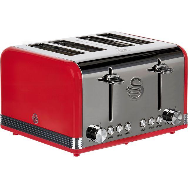 Swan Retro ST19020RN 4 Slice Toaster - Red