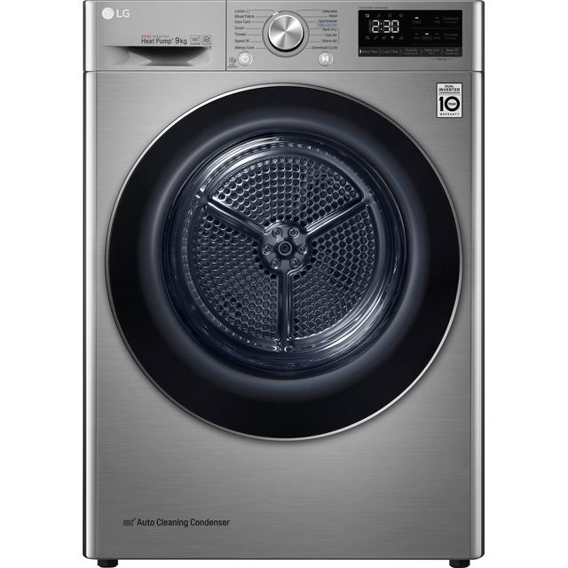 LG V9 FDV909S Wifi Connected 9Kg Heat Pump Tumble Dryer - Silver - A+++ Rated - FDV909S_SI - 1