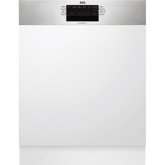 AEG FEB52600ZM Semi Integrated Standard Dishwasher - Silver Control Panel with Fixed Door Fixing Kit - A++ Rated - FEB52600ZM_SI - 1