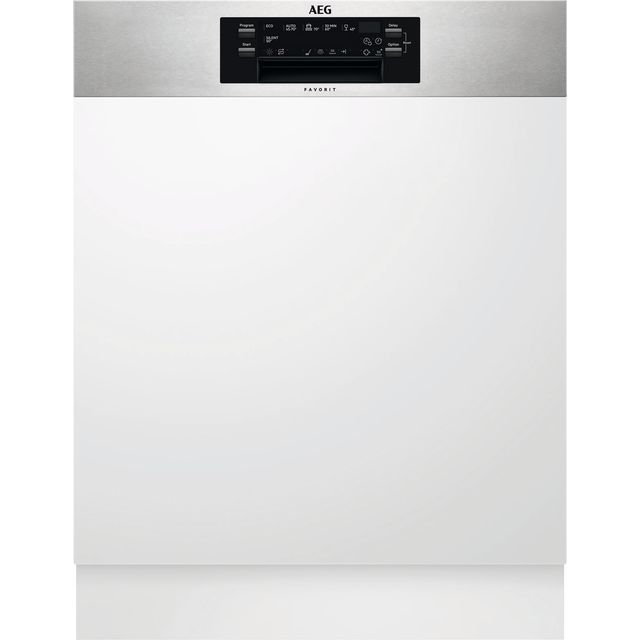 AEG FEE62600PM Semi Integrated Standard Dishwasher - Silver Control Panel with Fixed Door Fixing Kit - A++ Rated - FEE62600PM_SI - 1