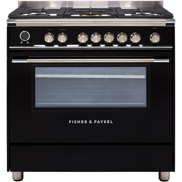 Fisher & Paykel Contemporary OR90SCG6B1 90cm Dual Fuel Range Cooker - Black - A Rated - OR90SCG6B1_BK - 1