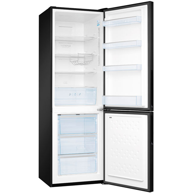 Image of Amica Free Standing Fridge Freezer Frost Free in Black Glass