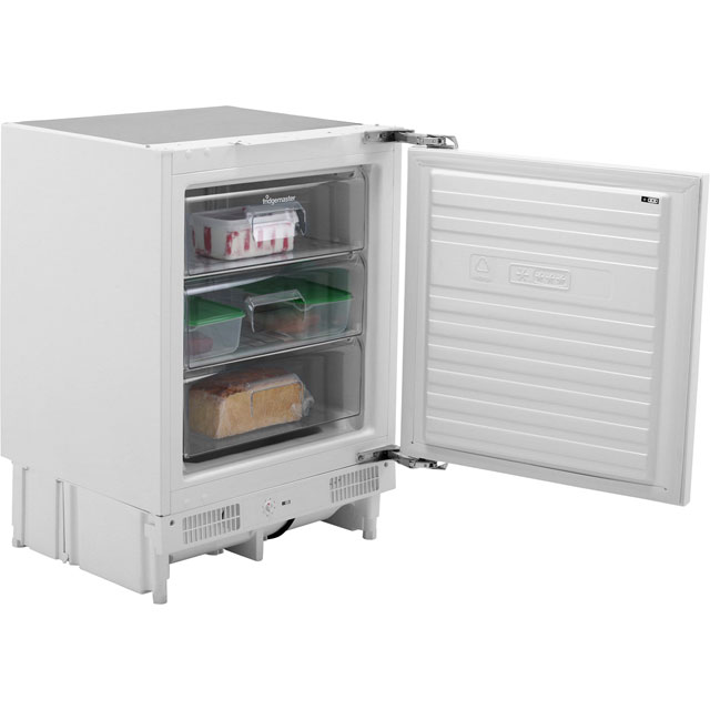 Fridgemaster MBUZ6097 Integrated Under Counter Freezer with Fixed Door Fixing Kit - A+ Rated - MBUZ6097_WH - 1