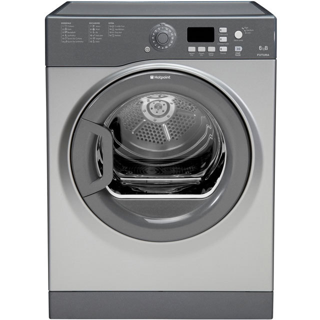 Hotpoint FTVFG65BGG Free Standing Vented Tumble Dryer in Graphite