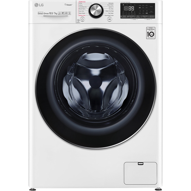 LG V9 FWV917WTS Wifi Connected 10.5Kg / 7Kg Washer Dryer with 1400 rpm - White - A Rated - FWV917WTS_WH - 1