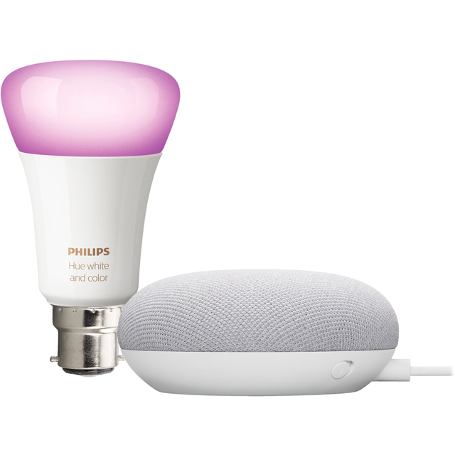 Philips Hue B22 White and Colour Bulb with Google Nest Mini - A+ Rated