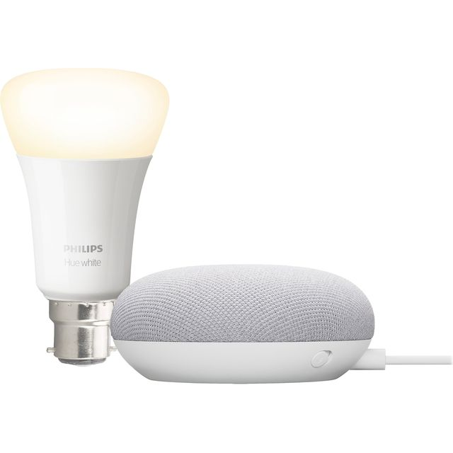 Philips Hue B22 White Bulb with Google Nest Mini - A+ Rated