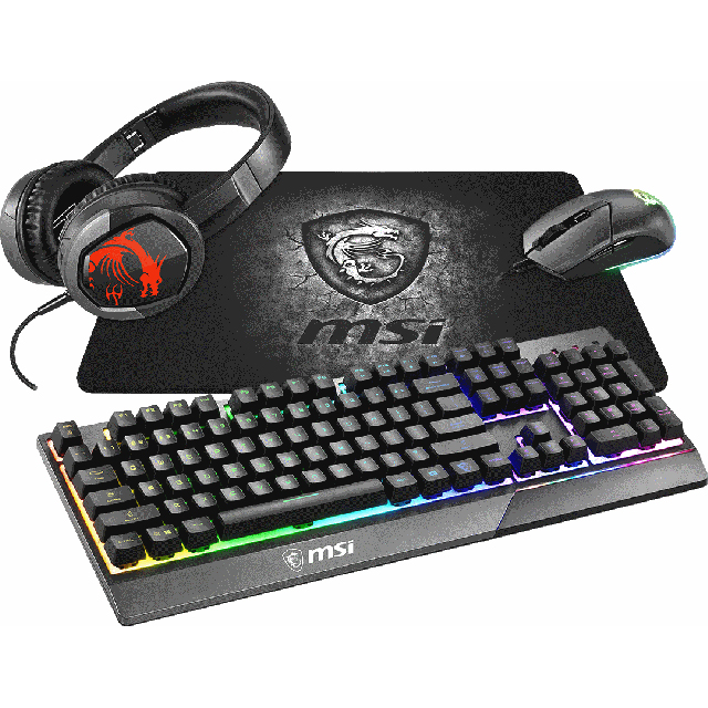 MSI PC Gaming Accessories Bundle Wired Optical - Black - GM11 GK30 GH30 GD20 Bundle - 1