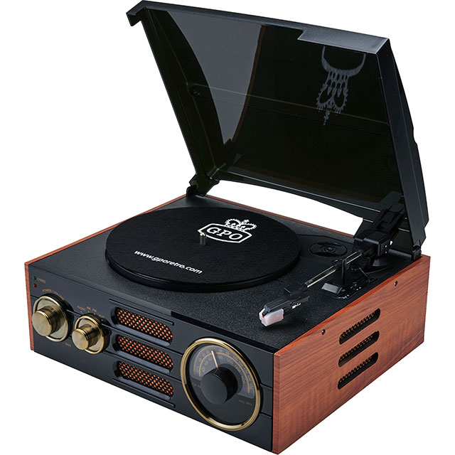 GPO Empire Turntable in Black / Wood