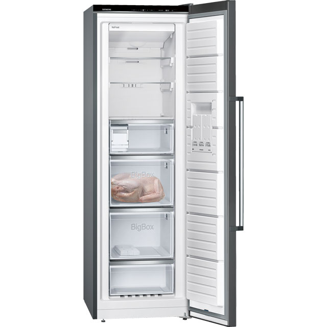 Siemens IQ-500 GS36NAX3P Upright Freezer - Black / Stainless Steel Look - GS36NAX3P_BK - 3