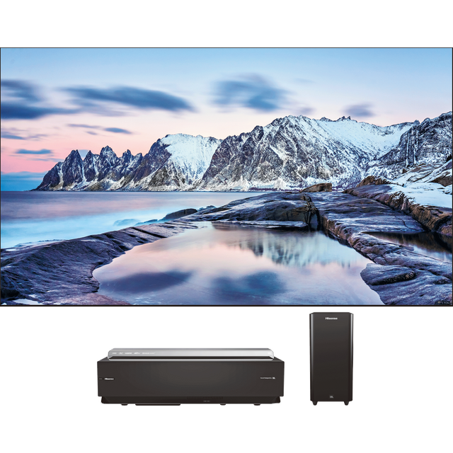 "Hisense 100"" Laser TV With Short Throw Projector and JBL Wireless Subwoofer"