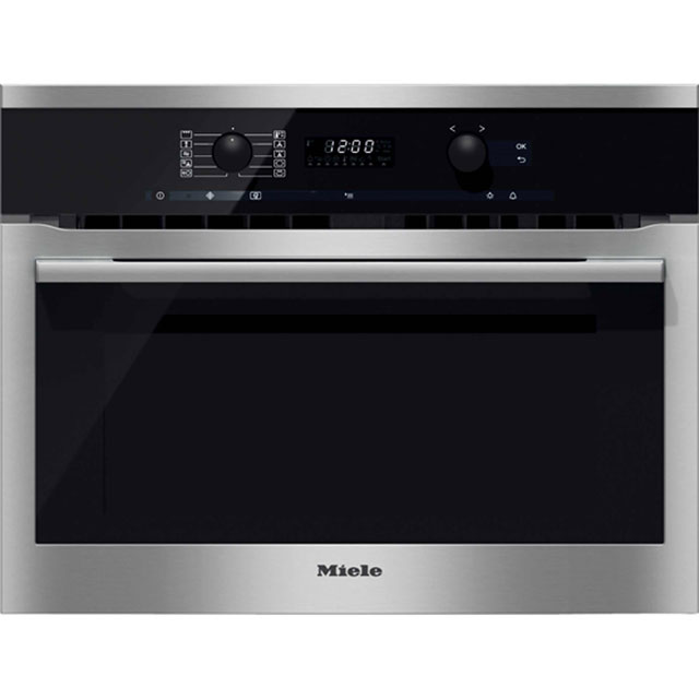 Miele ContourLine H6100BM Built In Compact Combination Microwave Oven - Clean Steel