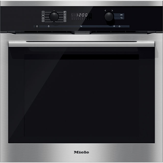 Miele ContourLine H6160BP Built In Electric Single Oven - Clean Steel - A+ Rated - H6160BP_CS - 1
