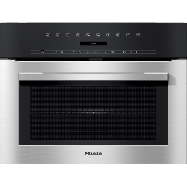 Miele H7140BM Wifi Connected Built In Compact Electric Single Oven with Microwave Function - Clean Steel - H7140BM_CS - 1