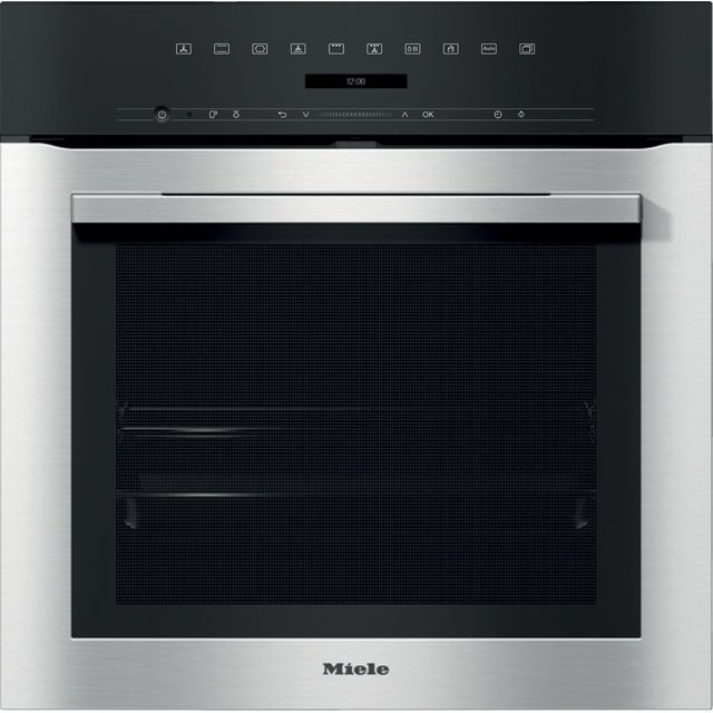 Miele ContourLine H7164B Wifi Connected Built In Electric Single Oven with added Steam Function - Clean Steel - A+ Rated - H7164B_CS - 1