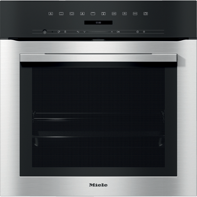 Miele ContourLine H7164BP Wifi Connected Built In Electric Single Oven with added Steam Function - Clean Steel - A+ Rated - H7164BP_CS - 1