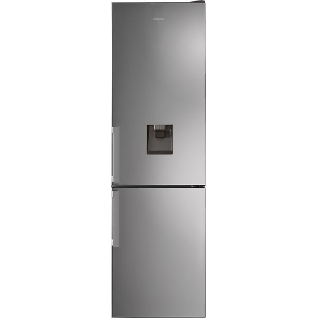 Hotpoint H7T911AMXHAQUA1 201x60cm 368L Freestanding Fridge Freezer With Non-plumb Water Dispenser - Shiny Steel