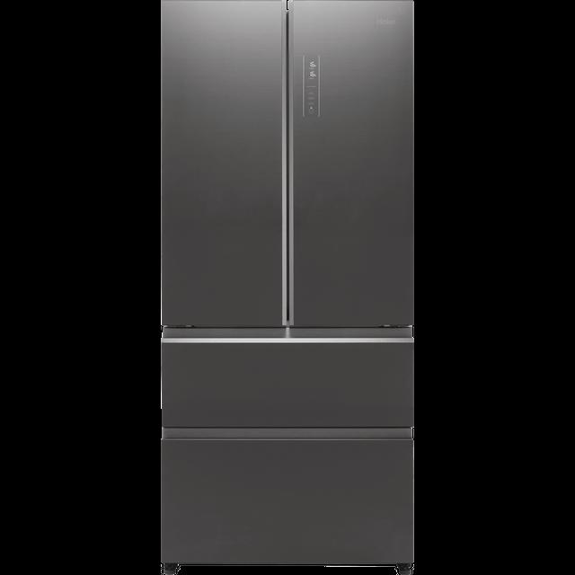 Haier HB18FGSAAA American Fridge Freezer - Titanium Glass - E Rated
