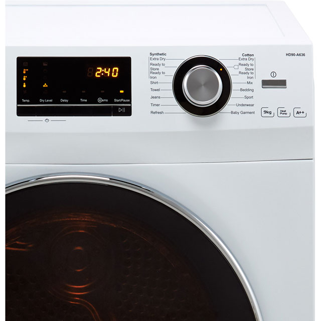 Haier HD90-A636 9Kg Heat Pump Tumble Dryer - White - A++ Rated - HD90-A636_WH - 3