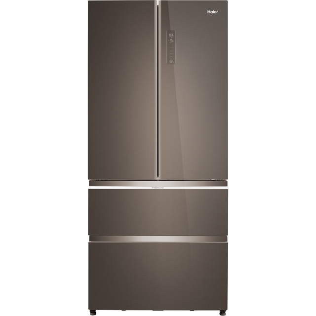 Haier HB18FGSAAA American Fridge Freezer - Titanium Glass - A++ Rated - HB18FGSAAA_TS - 1