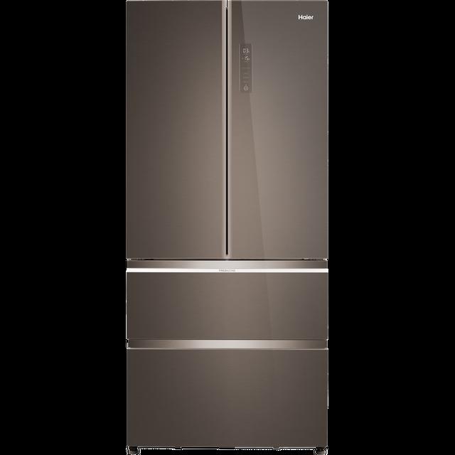 Image of Haier HB18FGSAAA American Fridge Freezer - Titanium Glass - E Rated