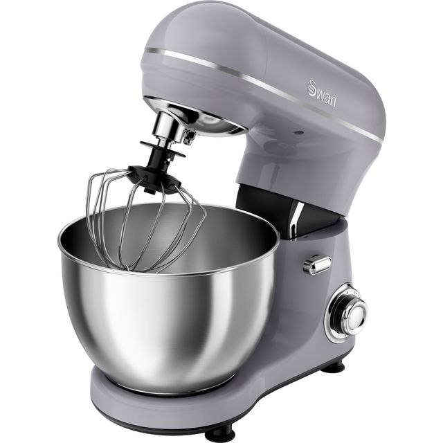Swan 800 W Retro Grey Stand Mixer, Low Noise, Planetary Mixing Action, 8 Stepless Speed and Pulse Function, Rotary Switch Control, SP21060GRN