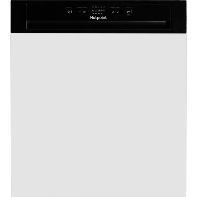 Hotpoint Aquarius HBC2B19UK Semi Integrated Standard Dishwasher - Black Control Panel with Fixed Door Fixing Kit - A+ Rated - HBC2B19UK_WH - 1