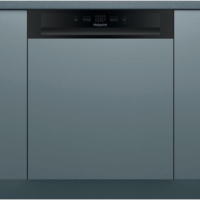 Hotpoint HBC2B19UKN Semi Integrated Standard Dishwasher - Black Control Panel - F Rated