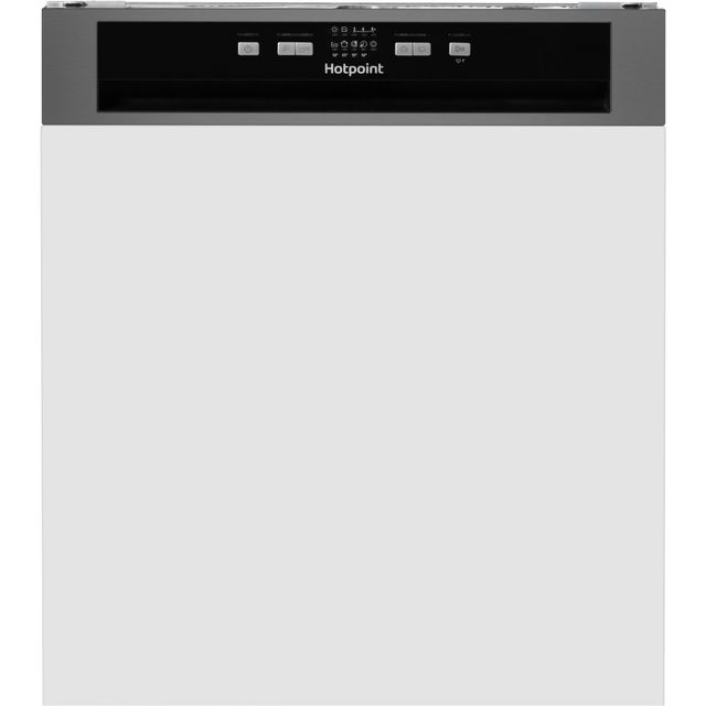 Hotpoint Aquarius HBC2B19XUK Semi Integrated Standard Dishwasher - Stainless Steel Control Panel with Fixed Door Fixing Kit - A+ Rated