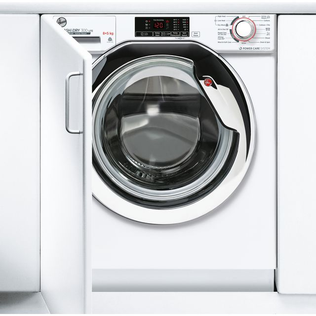 Hoover H-WASH&DRY 300 LITE HBDS485D1ACE Built In 8Kg / 5Kg Washer Dryer - White - HBDS485D1ACE_WH - 1