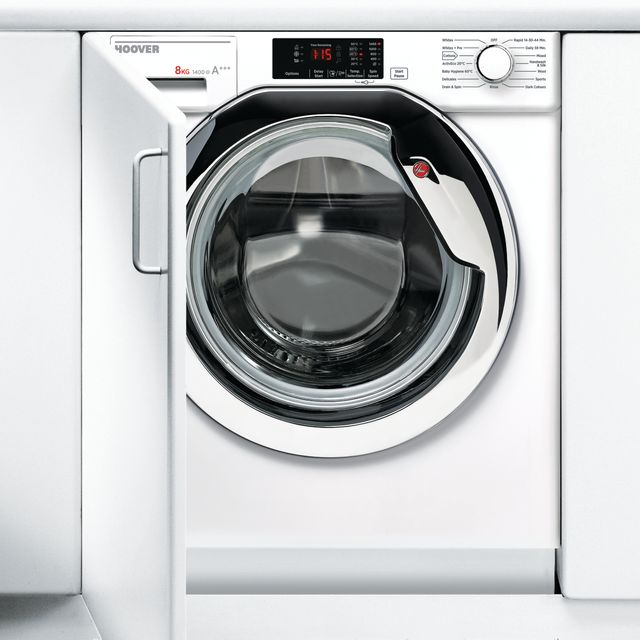 Hoover HBWM814DC Integrated 8Kg Washing Machine with 1400 rpm - A+++ Rated Best Price, Cheapest Prices
