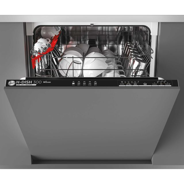 Hoover H-DISH 300 HDIN2L360PB Wifi Connected Fully Integrated Standard Dishwasher - Black Control Panel with Fixed Door Fixing Kit