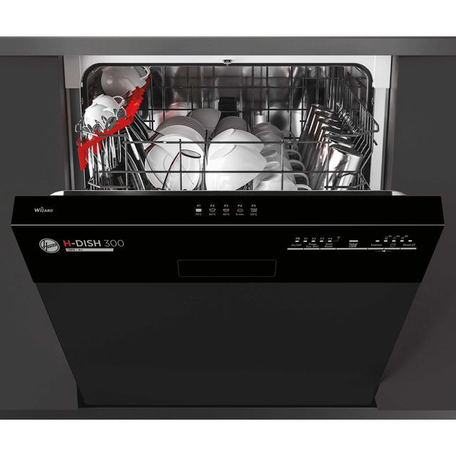 Hoover H-DISH 300 HDSN1L380PB Semi Integrated Standard Dishwasher - Black - HDSN1L380PB_BK - 1