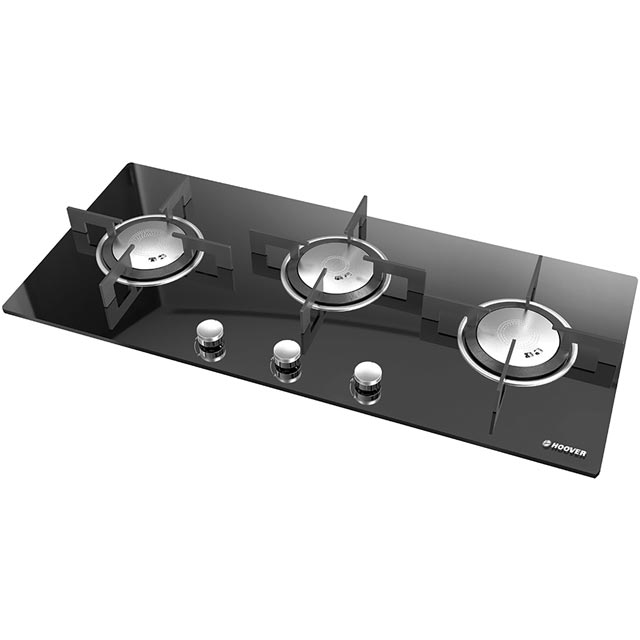 Hoover Vogue HGV93SXVB 90cm Gas Hob - Black Glass - HGV93SXVB_BKG - 1