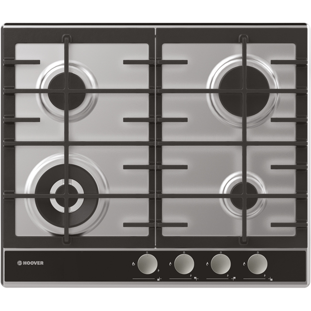 Hoover HHG6BF4WVX 60cm Gas Hob - Stainless Steel / Black Glass - HHG6BF4WVX_SSB - 1