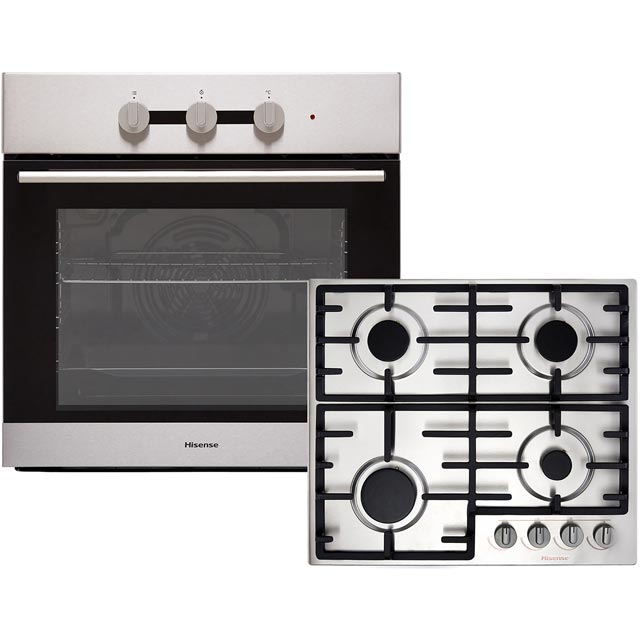 Hisense BI6031GXUK Built In Electric Single Oven and Gas Hob Pack - Stainless Steel - A Rated - BI6031GXUK_SS - 1