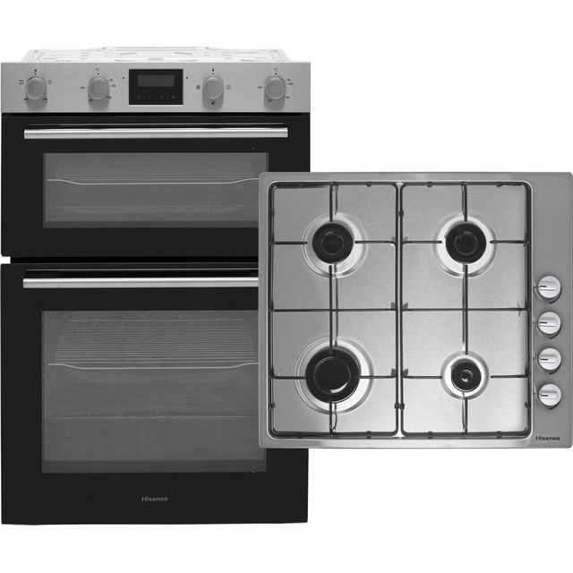 Hisense BI6095GXUK Built In Electric Electric Double Oven and Gas Hob Pack - Stainless Steel - A/A Rated