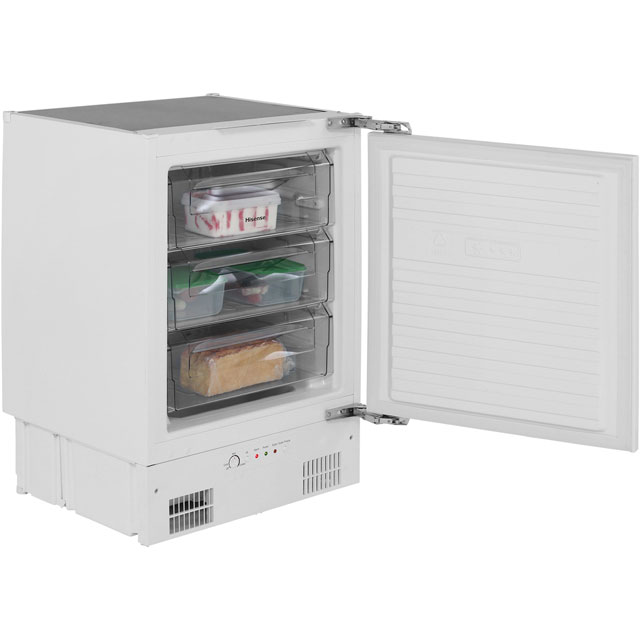 Hisense FUV126D4AW1 Integrated Under Counter Freezer with Fixed Door Fixing Kit - A+ Rated - FUV126D4AW1_WH - 1
