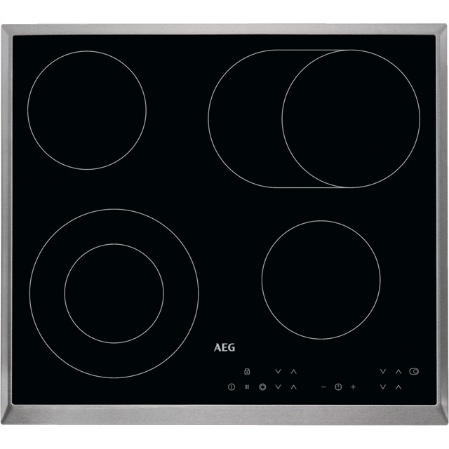 Image of AEG Competence HK634060XB 58cm Ceramic Hob - Black / Stainless Steel