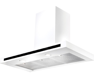 Rangemaster Hi-Lite Flat 110 cm Chimney Cooker Hood - White - C Rated