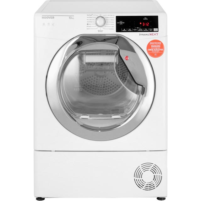 Hoover Dynamic Next Advance DXC10TCE 10Kg Condenser Tumble Dryer - White / Chrome - B Rated