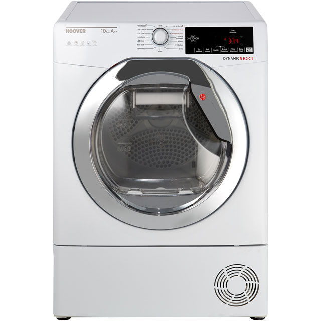 Hoover Dynamic Next DXHY10A2TCE 10Kg Heat Pump Tumble Dryer - White / Chrome - A++ Rated - DXHY10A2TCE_WH - 1